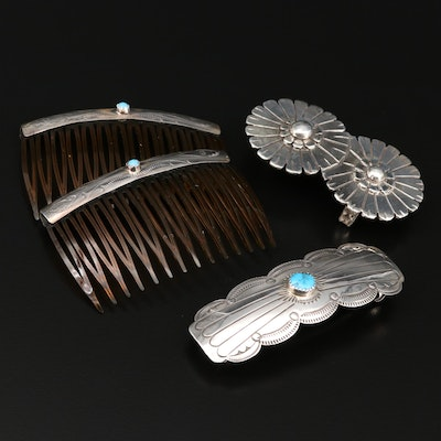 Sterling Silver Hair Combs, Belt Buckle and Barrette Featuring Bill Kirkham