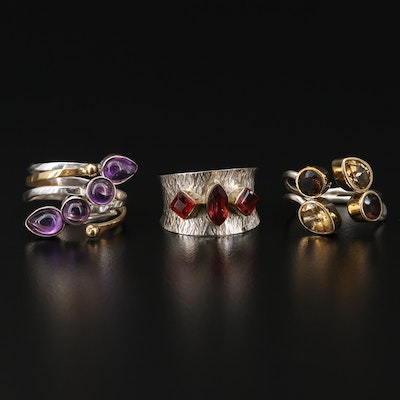 Collection of Sterling Silver Rings with Citrine, Amethyst and Garnet