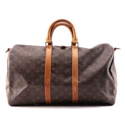 Louis Vuitton Keepall 45 in Monogram Coated Canvas and Vachetta Leather