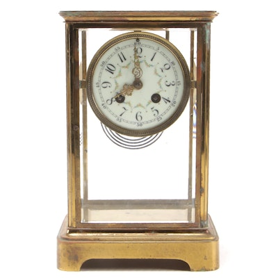 Brass Mantel Clock with Hand-Painted Pendulum Portrait, Late 19th/Early 20th C.