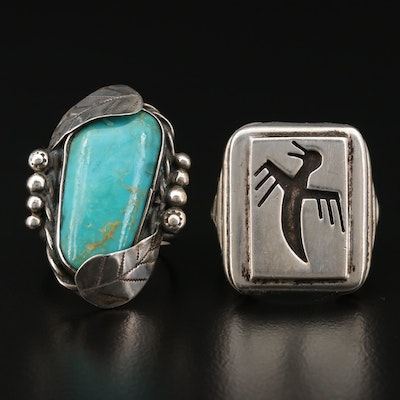 Southwestern Style Sterling Bird and Turquoise Rings