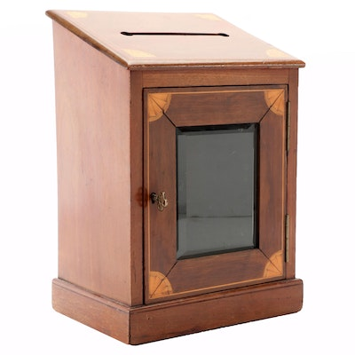 Edwardian Marquetry Country House Letter Box, Early 20th Century