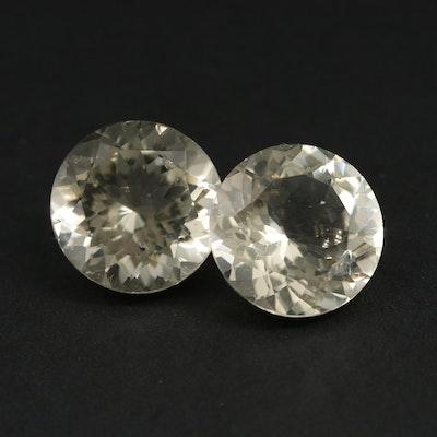 Loose Matching Pair of 24.80 CTW Citrine Gemstones