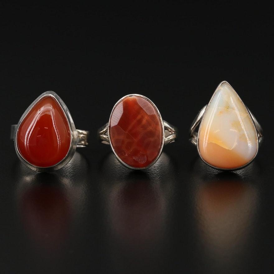 Sterling Silver Agate Rings