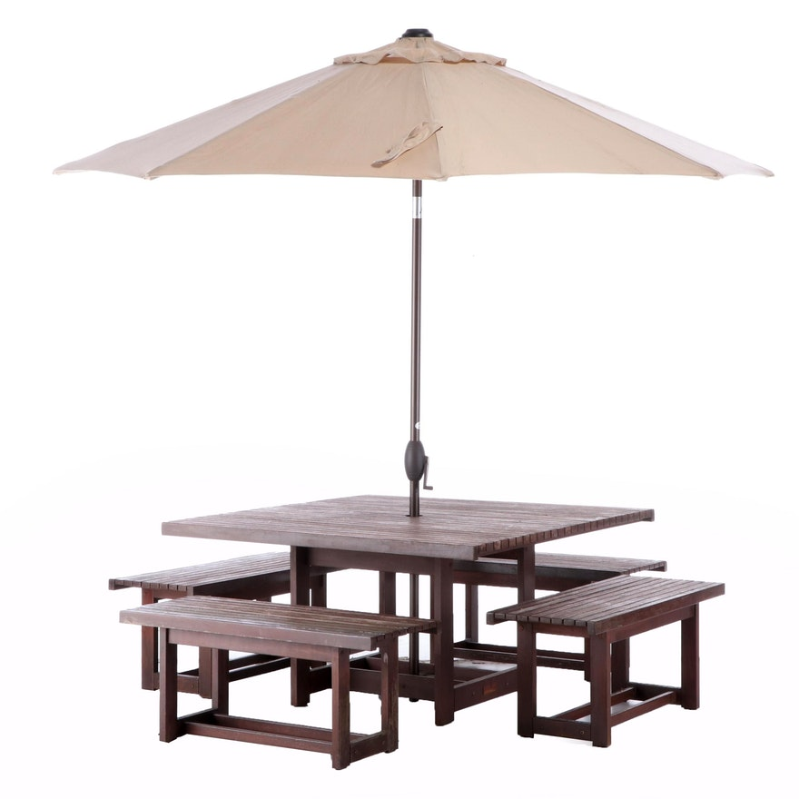 Jensen Jarrah Teak Patio Dining Set with Umbrella, Late 20th Century