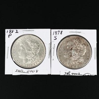 1878-S and 1882 Morgan Silver Dollars