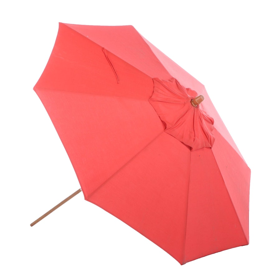 Red Canvas 8' Tilting Patio Umbrella