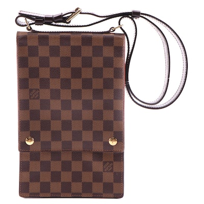 Louis Vuitton Portobello Shoulder Bag in Damier Ebene Canvas and Leather