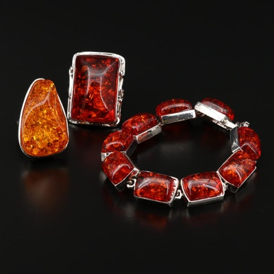 Amber Rings and Link Bracelet
