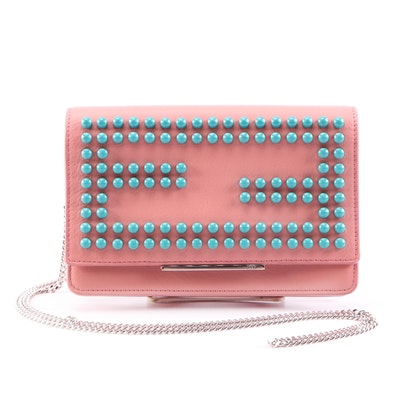 Fendi Pink Calfskin Leather Studded Wallet on Chain