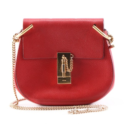 Chloé Red Grained Calfskin Leather Drew Mini Crossbody Bag