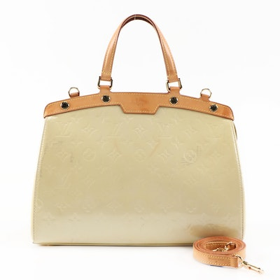 Louis Vuitton Brea Top Handle Bag in Monogram Vernis and Vachetta Leather