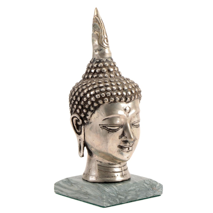 Asian Metal Buddha Figurine with Polished Stone Base