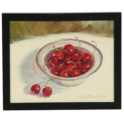Emily Featherstone Still Life With Cherries Oil Painting