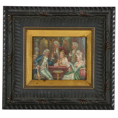 French Salon Scene Miniature Oil Painting