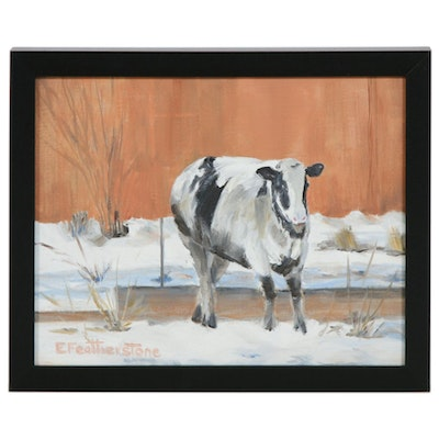 Emily Featherstone Oil Painting of a Cow