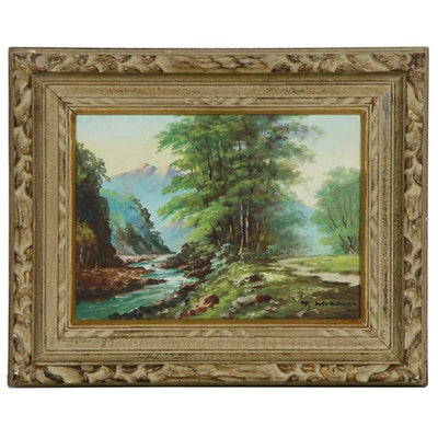 Mountain Stream Landscape Oil Painting