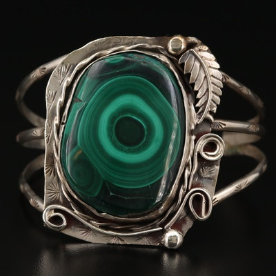 Southwestern Sterling Silver Malachite Cuff with Applique Accents