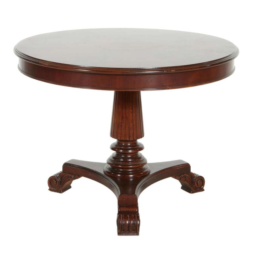 William IV Style Mahogany Marquetry Pedestal Round Dining Table