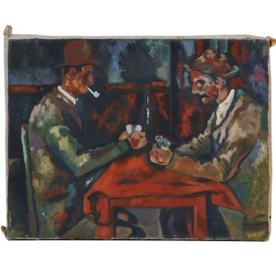 Oil Painting of Men Playing Cards, Mid-20th Century