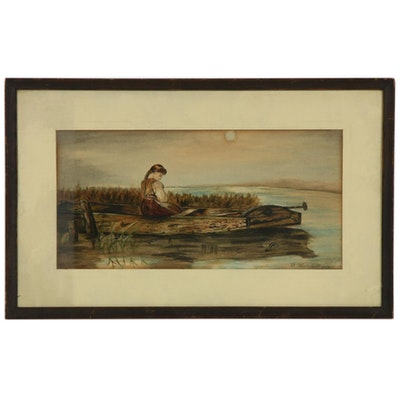 Watercolor Painting of a Girl in a Boat