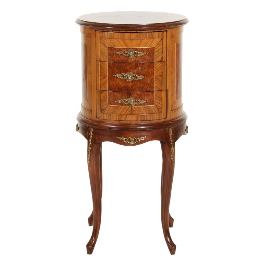 Louis XV Style Gilt Metal-Mounted Burl Wood Inlay Side Table