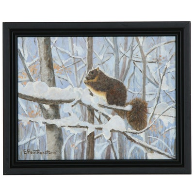 Emily Featherstone Oil Painting of a Squirrel