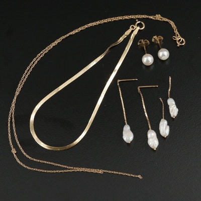 14K Yellow Gold and Cultured Pearl Scrap Jewelry