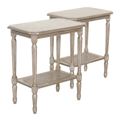Pair of Italian Distressed Silver Finish Tiered End Tables