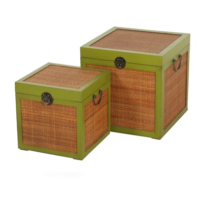 Rattan Nesting Storage Boxes with Wooden Avocado Green Trim