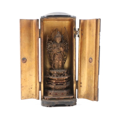 Japanese Senju Kannon Carved Wooden Figure in Zushi Travel Shrine, Meiji Period