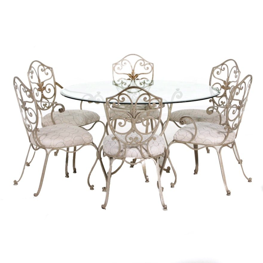 Antique-Finish Glass Top Table and Patio Set