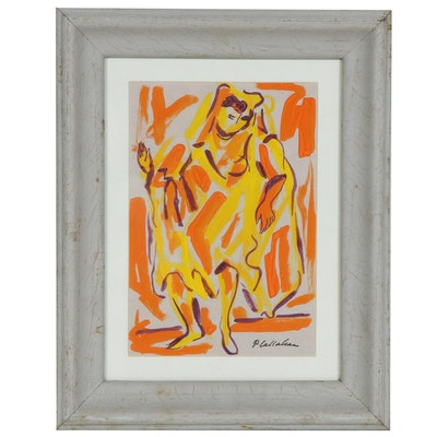Phillip Callahan Figural Gouache Painting