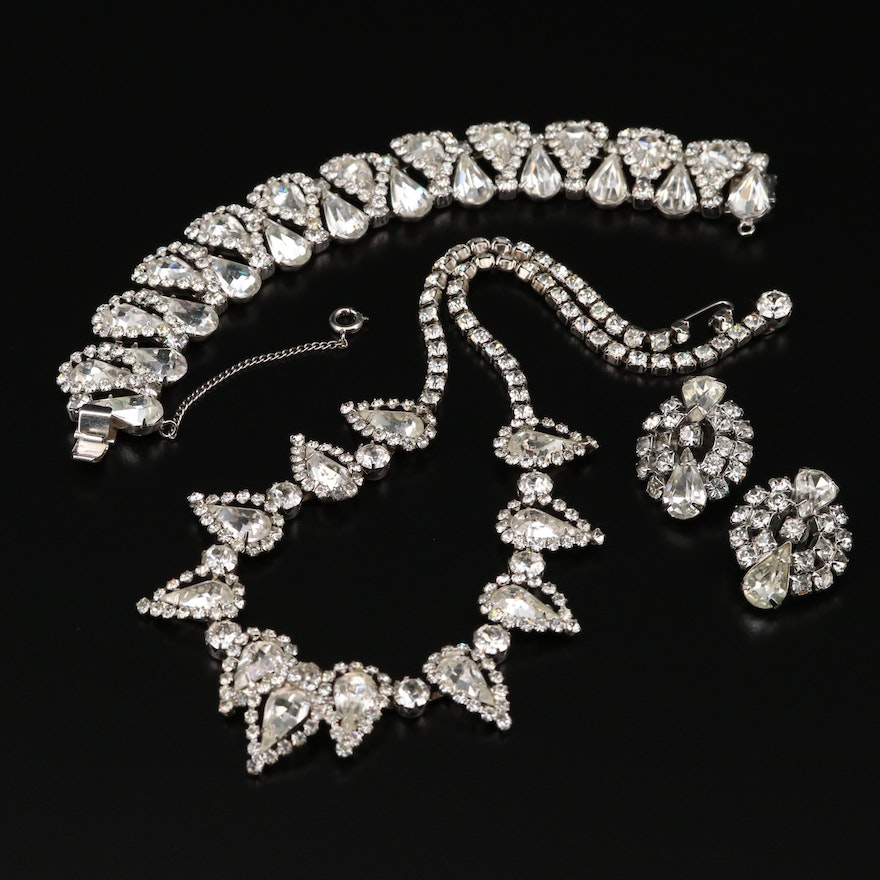 Rhinestone Bracelet, Necklace and Earrings Featuring Weiss