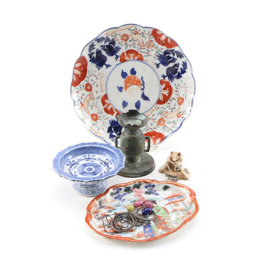 East Asian Porcelain Plates and Footed Dish with Censer and Other Decor