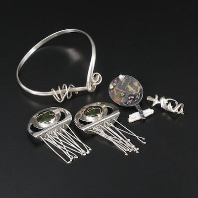 Sterling Assorted Jewelry with Peridot, Ruby and Pearl