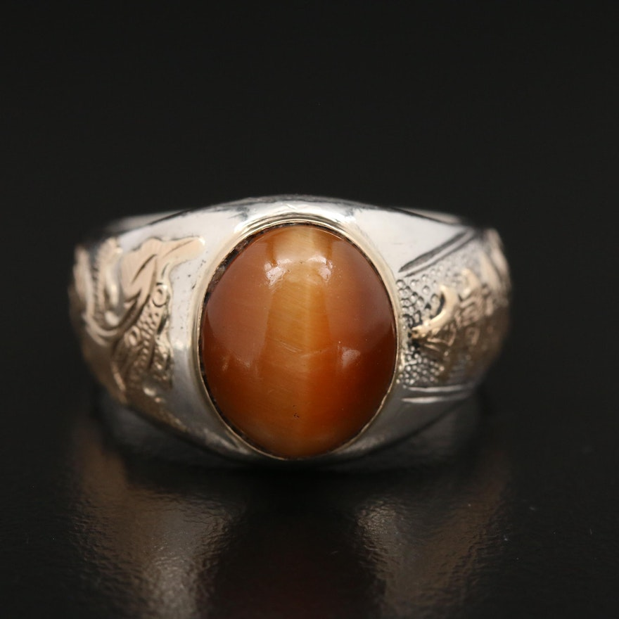 Sterling Silver Tiger's Eye Ring With 10K Gold Shoulder Accents and Bezel