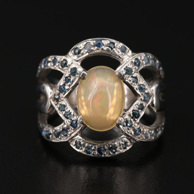 Sterling Silver Sapphire and Opal Ring