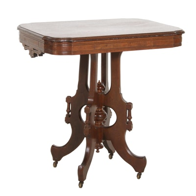 Victorian Eastlake Walnut Parlor Table, Late 19th Century