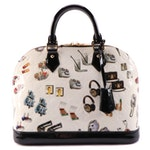 Louis Vuitton Alma PM Bag in White Monogram Vernis and Stickers with Black Trim