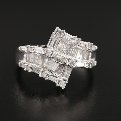 14K White Gold 1.00 CTW Diamond Bypass Ring