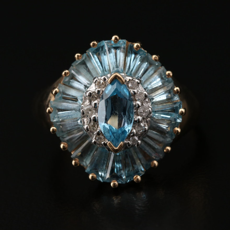 10K Yellow Gold Diamond and Topaz Ring