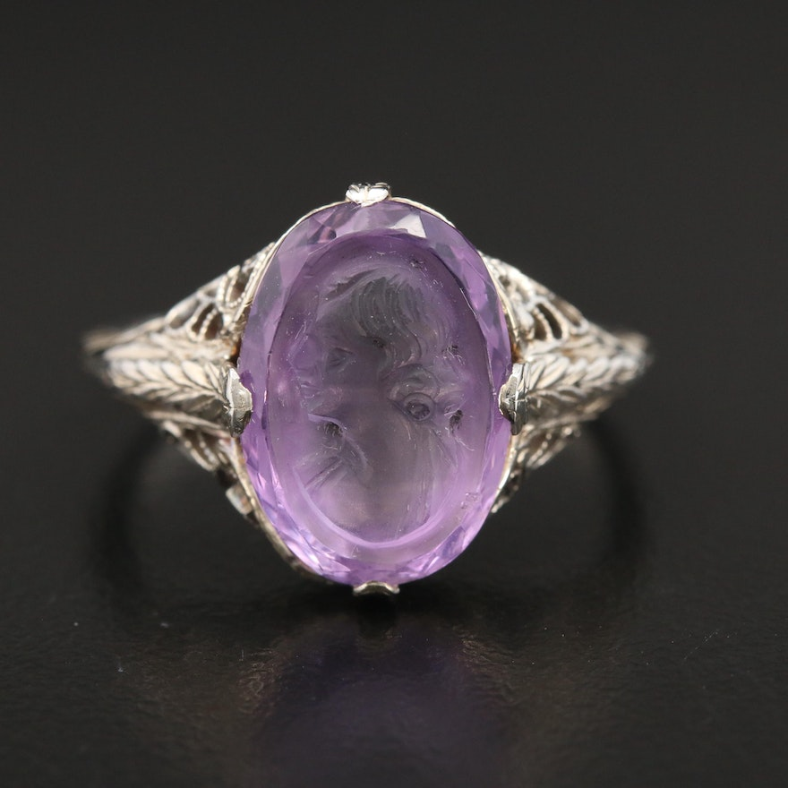 1930s 18K Gold Amethyst Cameo Ring