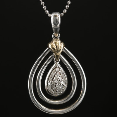 Sterling Silver Diamond Pendant Necklace with 14K Gold Accent