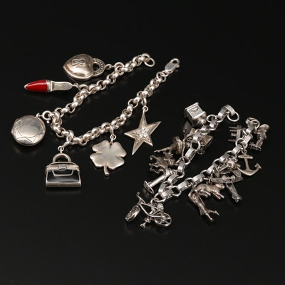 Sterling Silver Charm Bracelets with Purse and Race Horse Charms