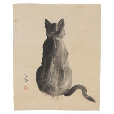Japanese Sumi-e Ink Brush Painting of Cat