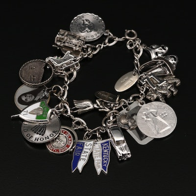 Sterling Silver Charm Bracelet with Trolley and Coney Island Charms