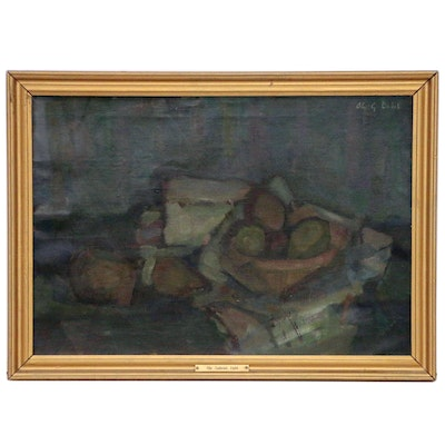 Ole-Gabriel Dahl Still Life Oil Painting, Mid-20th Century