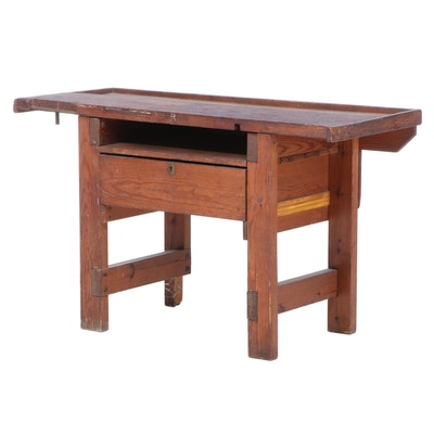 Industrial Pine Work Table, Mid-20th Century