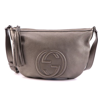Gucci Metallic Pebbled Calfskin Leather Soho Messenger Bag with Tassel in Pewter